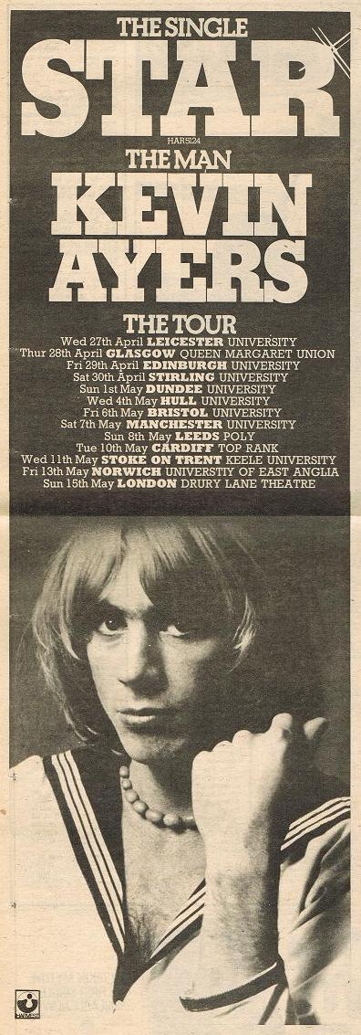 Kevin Ayers Star Tour 1977